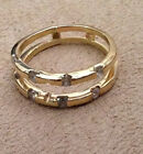 14KT Yellow Gold Diamond Wedding Anniversary Ring Guard Wrap
