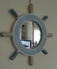 Nautical Ships Wheel Mirror in washed blue & white. Bathroom