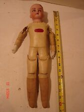 VINTAGE MABEL BISQUE HEAD DOLL BEAUTY LEATHER BODY 16 INCH PARTS REPAIR RESTORE