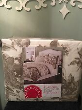 Martha Stewart Cotton Flannel Comforter Cover Sketched Roses - Full/Queen