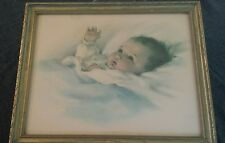 BEAUTIFUL ART DECO ERA FLORAL FRAME BESSIE PEASE GUTMANN AWAKENING NURSERY PRINT