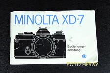 Minolta XD-7 die originale Bedienungsanleitung deutsche Ausgabe 02307