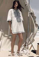 NWT BCBG MAX AZRIA SzXS/S RUNWAY ELIE EMBROIDERED TUNIC DRESS OFF WHITE COMB$698