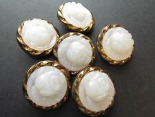 1980s Vintage White Faux Cameo Bronze Metal Frame Coat Blazer Buttons-Set 25mm