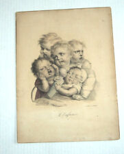 ORIG. 1824 COLOR LITHO by LOUIS-LEOPOLD BOILLY: L'ENFANCE (CHILDHOOD)