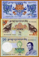 SET, Bhutan, 1, 5, 10, Ngultrum, 2006-2011, P-27-New-29, UNC