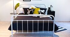 White Queen Metal Frame Bed Vintage Retro Antique Style Wooden Slats