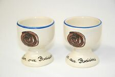 "COOKS LINE PARIS Vintage EGG CUPS ""Pain aux Raisins"" set of 2  - Small blemish"