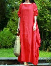 Women Casual Maxi Cotton Linen Long Dress Gown Caftan Long Sleeve Lagenlook -47