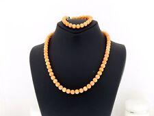 Vintage sterling Silver 925 LOT Necklace Bracelet genuine CORAL Natural Beads