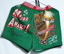 "NEW ""A Christmas Story"" Image of Iconic Leg Lamp Green Boxers & Gift Bag Men's S"