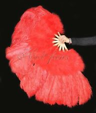 """Red 27"""" x 53""""  Marabou & Ostrich feathers fan With carrying case"""