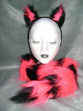 Animal Fancy Dress Ears And Striped Tail Black/Bright Pink Luxury Faux Fur Set