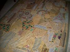 "Vintage Crazy Quilt Made Of Embroidery, Saree, Beads, Ribbon, 65"" x 85"""