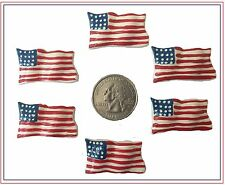 6 PC RED WHITE BLUE PATRIOTIC WAIVING AMERICAN FLAG FLATBACK FLAT BACK RESINS