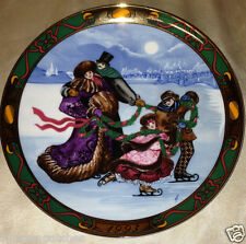 "ROYAL COPENHAGEN 1993 CHRISTMAS IN DENMARK SKATING PARTY PLATE 8 3/8"" FAMILY"