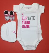 JORDAN BABY GIRLS 3-piece Outfit set: Romper, Booties & Cap WHITE 0-6 Months.