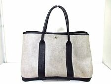 Authentic HERMES Ivory Black Garden Party PM Toile H Leather Tote Bag