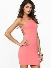 Motel Rocks Coral Pink Dress Size XXS 6 to 8 Jersey Cut Out Back Bodycon