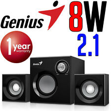 Genius SW-370 Computer PC Speakers 2.1 Channel Subwoofer 3.5mm 8W Wooden NEW