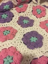 Vintage Flower Crocheted Blanket Afghan-White,purple,pink,Teal-52 By 65 Inches