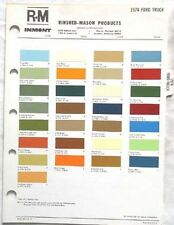 1974 FORD TRUCK R-M  COLOR PAINT CHIP CHART ALL MODELS ORIGINAL