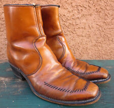 Wrangler Boots Cat's Paw Men's Vintage Light Brown Size 9.5 B USA Made Ankle Zip
