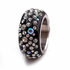 Black White CZ Aurora Borealis Pave Crystal ETERNITY Stainless Steel Ring Size 9