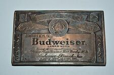 Vintage 1970s Budweiser Beer Bottle Label Brass Tone Aged Bar Belt Buckle NICE
