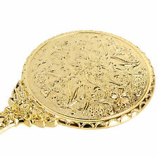Decorative Vintage Antique Style Small Gold Hand Held Vanity Mirror Pocket Purse