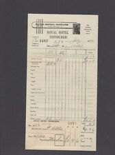 Vintage 1952  ROYAL HOTEL EDINBURGH BILL & Room card SCOTLAND