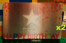 Macys Lenticular HAPPY BIRTHDAY GIFT CARD x2 Collectible Card w/ Star No Value