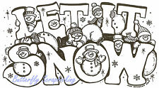 Let It Snow Text With Snowmen, Wood Mounted Rubber Stamp NORTHWOODS - NEW, P4940