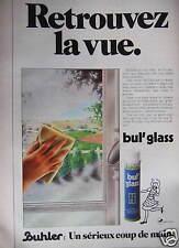 PUBLICITÉ 1980 BUHLER BUL'GLASS RETROUVEZ LA VUE - ADVERTISING