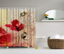 Abstract Elegant Flower Romantic Red Rose Digital Print Graphic Shower Curtain