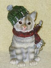 Cute Tabby Cat Kitten Figurine with Green & White Knitted Cap and Red Scarf 6-in