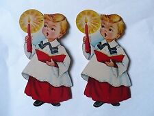 VINTAGE CHRISTMAS DENNISON CHOIR BOYS WITH CANDLE DIE CUT DECORATION NICE