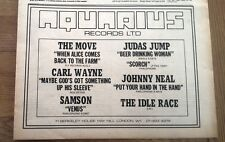 The MOVE IDLE RACE(Jeff Lynne) CARL WAYNE singles 1970 Press ADVERT 12x8 inches