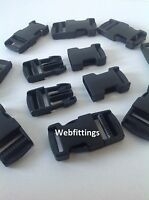 6 Black Plastic Side Release Buckle Fasteings for 25mm Webbing