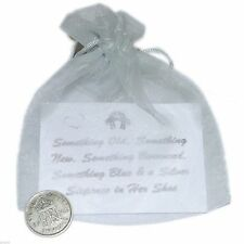 Brides Lucky Sixpence in Organza bag with Gift Card
