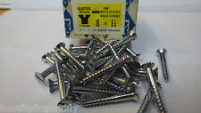 "25 x NETTLEFOLDS 1 1/4"" x 8 BARREL CHROME ON BRASS COUNTERSUNK SLOTTED SCREWS"