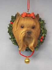 Yorkshire Terrier Dog in Wreath Resin Material Christmas Tree Ornament 3 Inch