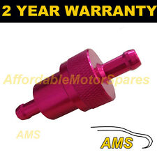 "RED 1/4"" METAL UNIVERSAL IN LINE FUEL FILTER ANODISED ALUMINIUM"