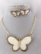 Gold Shell Crystal Rhinestone Butterfly Necklace Earring Set Fashion Jewelry NEW