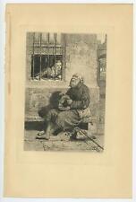 ANTIQUE EDIE OCHILTREE MISS WARDOUR ANTIQUARY VISITING MAN BENCH ETCHING PRINT