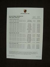 Porsche Import - Preisliste & Standorte Belgien - Prospektblatt Brochure 11.2011