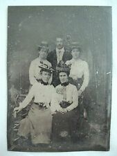 """ANTIQUE PHOTOGRAPH OF MAN & FOUR WOMEN~FAMILY?~TINTYPE~UNFRAMED~3 1/2"""" X 2 1/2"""""""