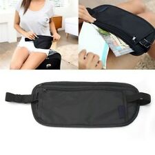 Travel Pouch Hidden Passport ID Holder Compact Security Money Waist Belt Bag BlK