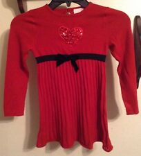 Girls 5 Dress Red Holiday Knit Dress Heart VALENTINES DAY!