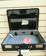 Genuine 100% Leather Executive Black Attache Case / Briefcase .